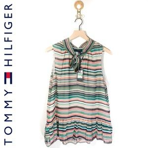 NWT Tommy Hilfiger Striped Sleeveless Ruffle Top